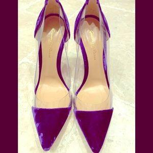 Gianvito Rossi BNWB purpl velvet abs Lucite heels